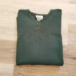 Vintage Knit Long Sleeve Green Sweater Tunic Small